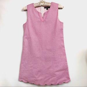 E. Land sleeveless pink seersucker dress girls